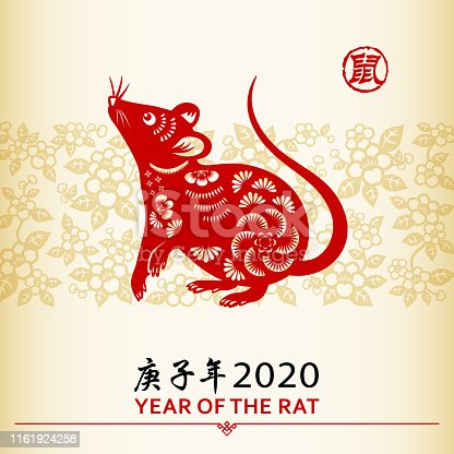 Celebrate the Year of the Rat 2020 with the red colored paper cut on floral background, the Chinese stamp means rat and the Chinese phrase means Year of the Rat