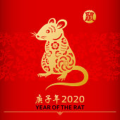 Celebrate the Year of the Rat 2020 with the gold colored paper cut on red floral background, the Chinese stamp means rat and the Chinese phrase means Year of the Rat