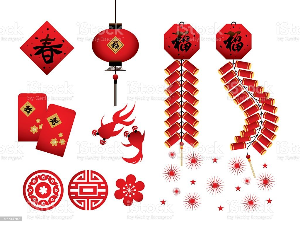Chinese New Year Red Icons vector art illustration