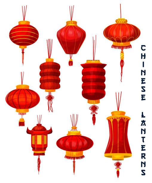 bildbanksillustrationer, clip art samt tecknat material och ikoner med kinesiska nyåret rött papper lanternor - rislampa