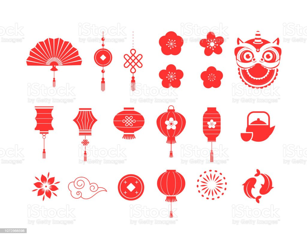 Chinese New Year red symbols and icons collection - Векторная графика 2019 роялти-фри