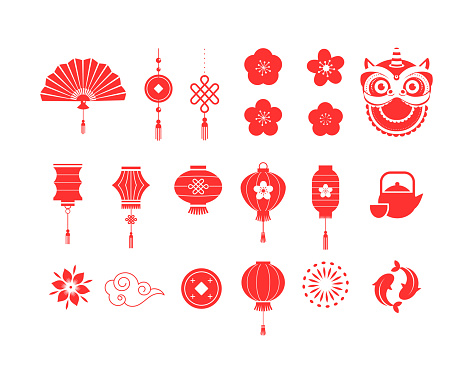 Chinese New Year red symbols and icons collection