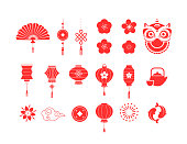 Chinese New Year red symbols, icons collection