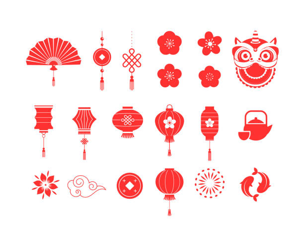 Chinese New Year red symbols and icons collection Chinese New Year red symbols, icons collection lantern stock illustrations
