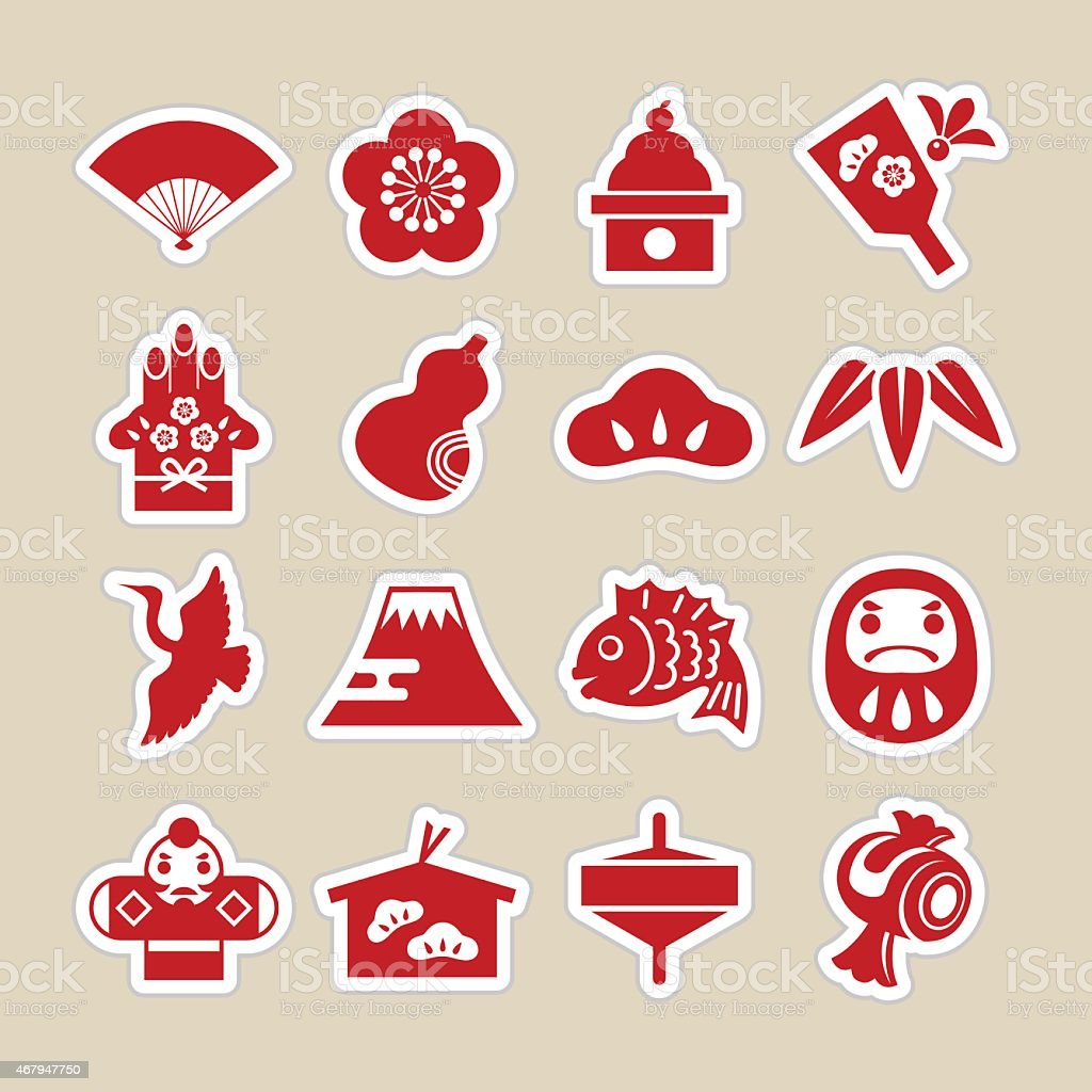 Chinese New Year related icons vector art illustration