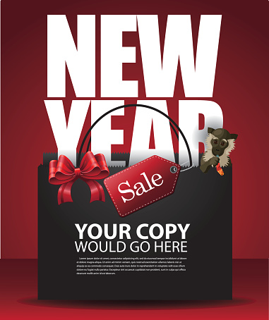 Chinese New Year Sale Shopping Bag and monkey background