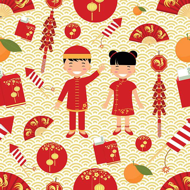 illustrazioni stock, clip art, cartoni animati e icone di tendenza di chinese new year seamless pattern. - pesche bambino