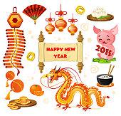 Chinese New year symbols set isolated on white background. Carto