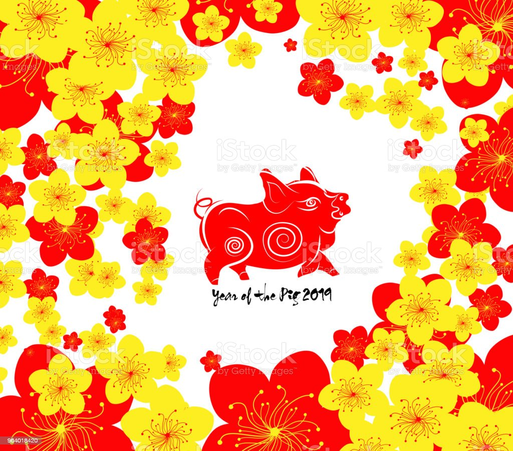 chinese new year template background. Year of the pig - Royalty-free 2019 stock vector