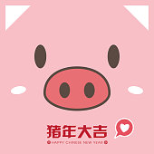 2019 chinese new year template greeting card with cute piggy face