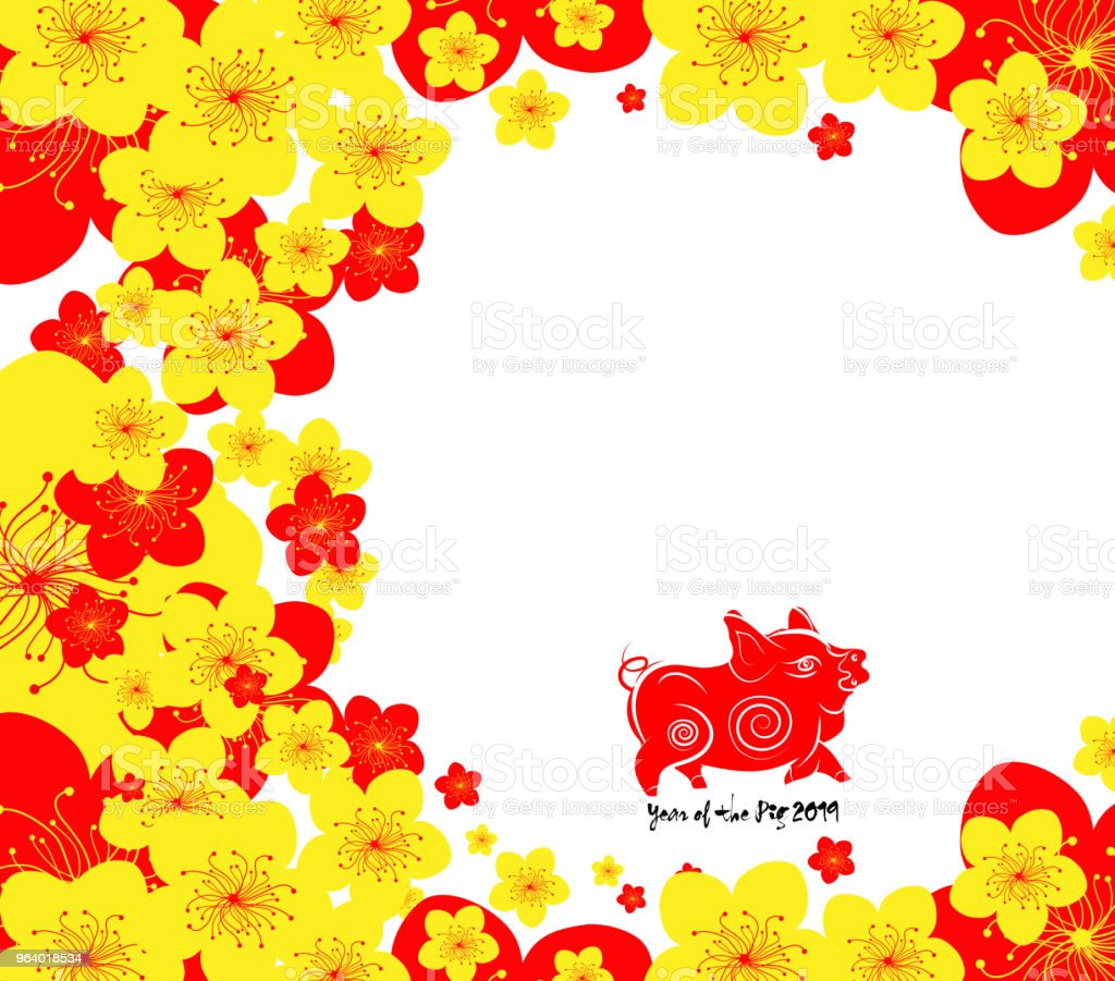 Chinese new year. The year of pig and cherry blossom. Year of the pig - Royalty-free 2019 stock vector