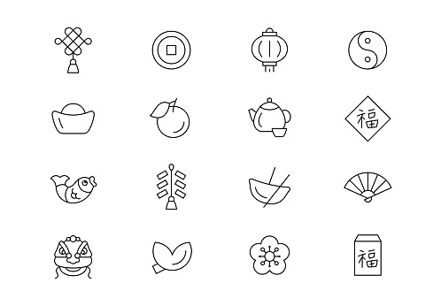 Chinese New Year thin line vector icons. Editable stroke