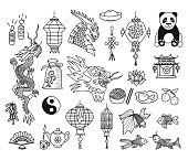 Hand drawn illustrations Chinese New Year. Vector doodles set.