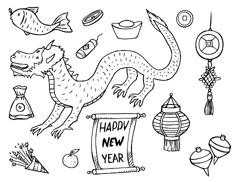 Chinese New Year Vector Doodles Set