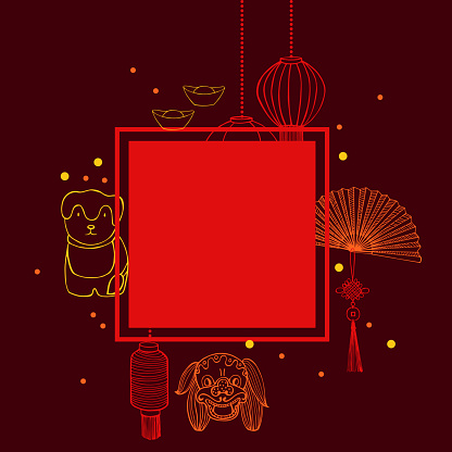 Chinese New Year  vector  frame.