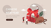 People Characters standing near Gift Box and Big Rat. Woman and Man Celebrating Chinese New Year 2020. Year of Rat Chinese Zodiac Symbol. Asian Holiday Concept. Flat Isometric Vector Illustration.