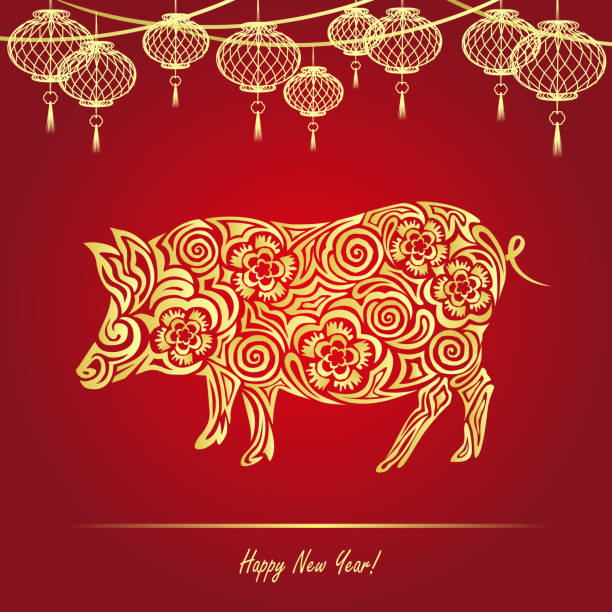 2019 chinese new year (year of the pig), vector illustration in paper cut style. - year of the pig stock illustrations, clip art, cartoons, & icons