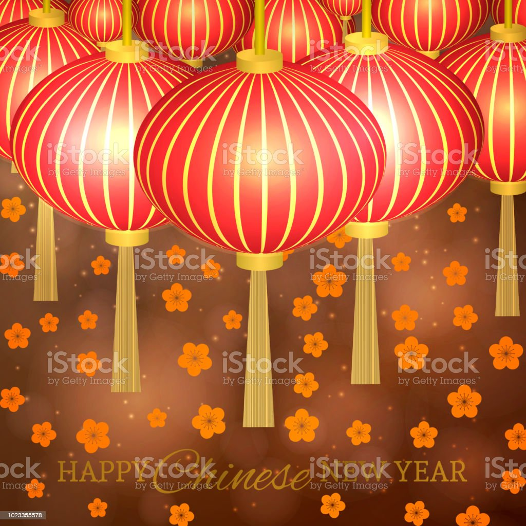 chinese new year vector illustration with lanterns and cherry blossom on bokeh background easy to