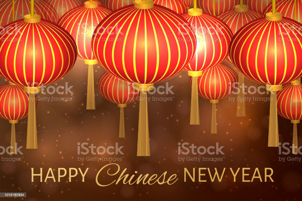 chinese new year vector illustration with lanterns on bokeh background easy to edit design template
