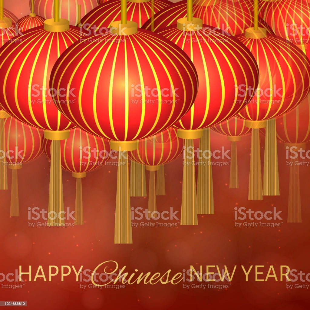 Chinese New Year Vector Illustration With Lanterns On Dark Red Bokeh