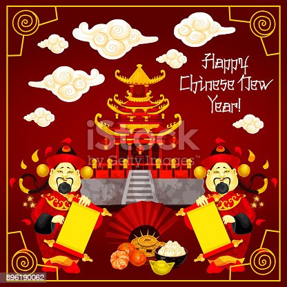 Happy Chinese New Year greeting card design of traditional Chinese temple arch and mandarin man with paper scroll on red background. Vector dumpling and hieroglyph decoration for China lunar New Year