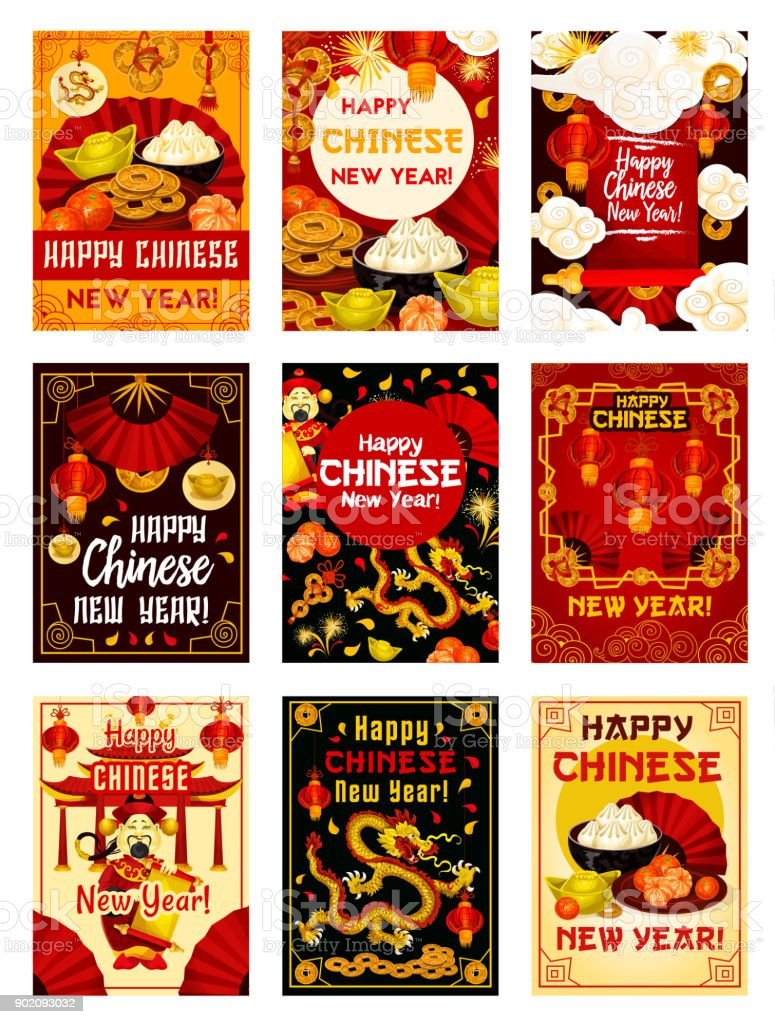 Chinese New Year Vector Traditional Greeting Cards stock vector art ...