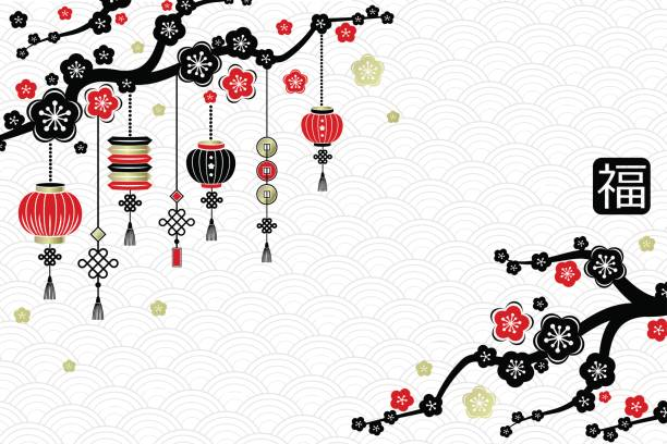 chinese new year vertical red and black banners with cherry blossom branches and lanterns vector art