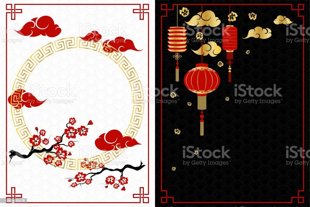 chinese new year white and black banners with cherry and lanterns royalty free chinese new
