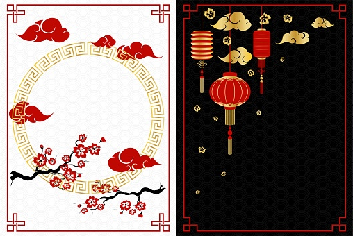 Chinese New Year white and black banners with  cherry and lanterns