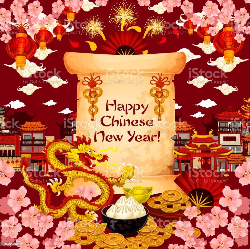 Chinese New Year Wunsch Vektor Grußkarte Stock Vektor Art und mehr ...