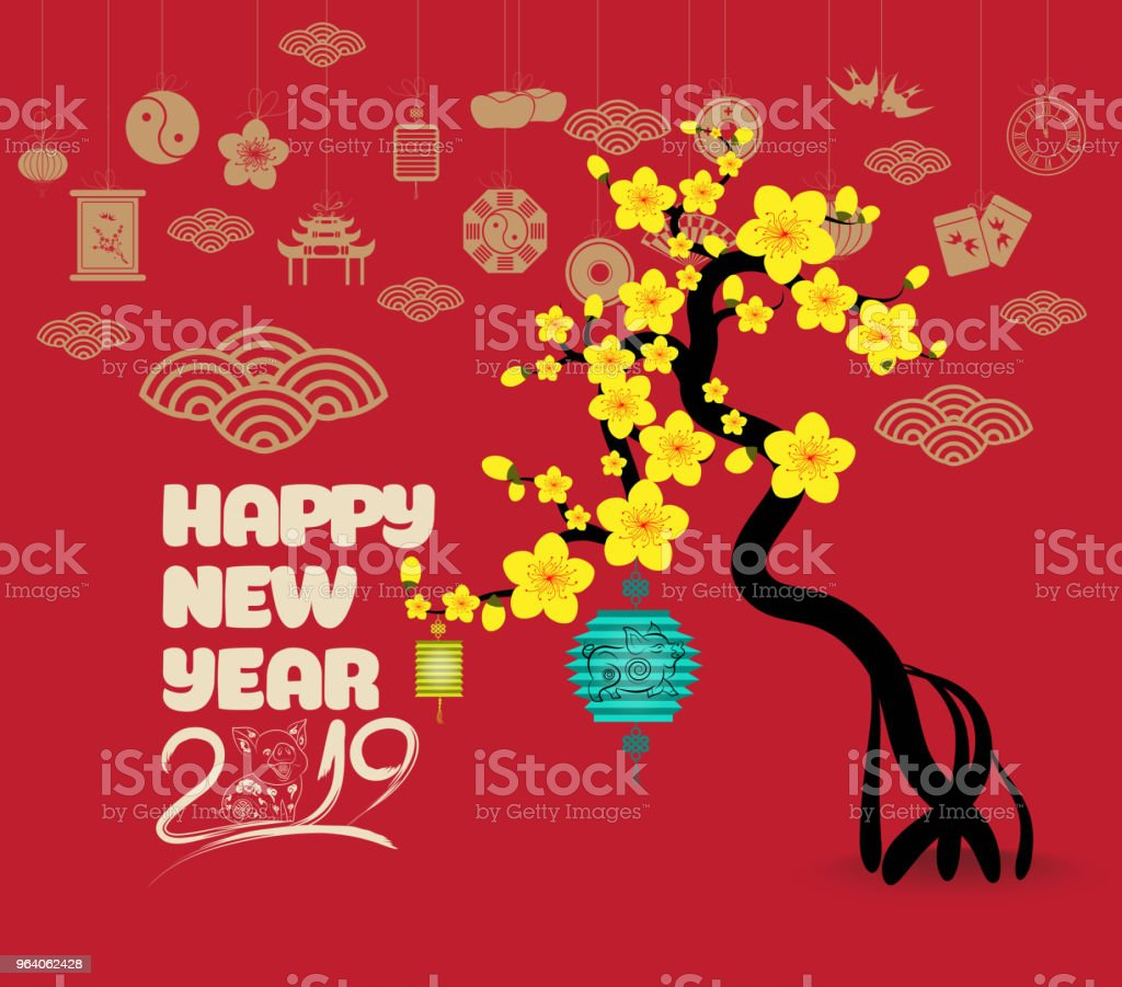 Chinese new year with blossom and lantern - Royalty-free 2019 stock vector