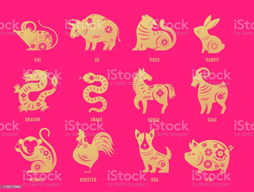 Vector illustration cartoon of cute Chinese zodiac animals