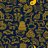 Chinese lunar zodiac animals and holiday celebration symbols for Chinese New Year. Vector seamless pattern background of golden China temple, coins and noodles with traditional lanterns and fireworks