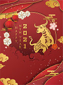 Chinese new year 2021 year of the ox , red and gold paper cut ox character,flower and asian elements with craft style on background.
