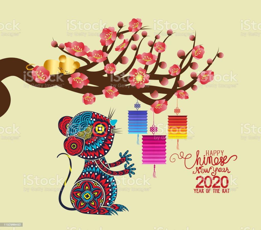 中國新年鼠大裝飾春節向量圖形及更多二零二零年圖片 - iStock