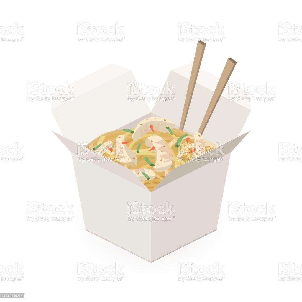 Caja de fideos chinos aislada sobre fondo blanco. - ilustración de arte vectorial