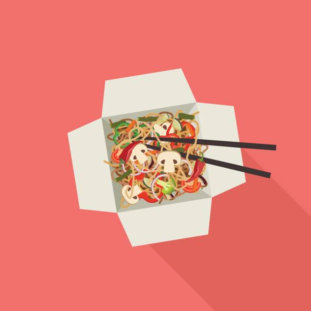 chinese noodles in box. - chinese food stock illustrations, clip art, cartoons, & icons