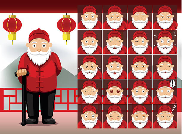 chinese old man cartoon emotion faces vector illustration - old man crying cartoon stock illustrations, clip art, cartoons, & icons