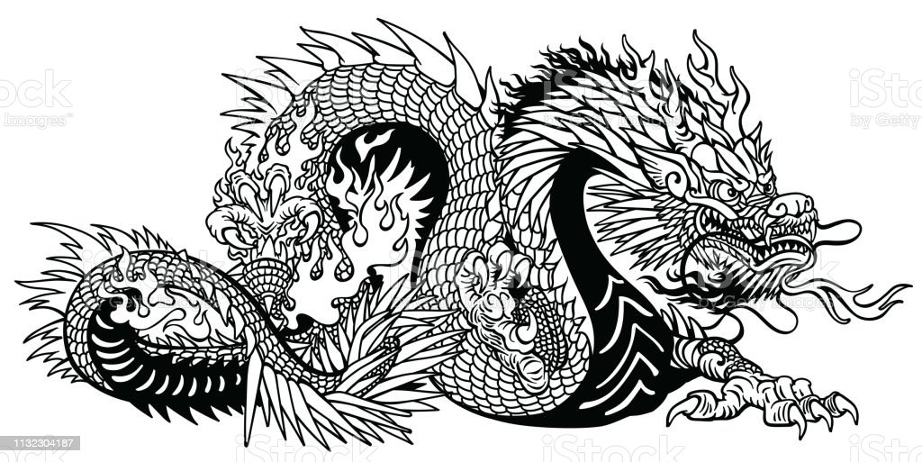 Asian Tattoos Illustrations: Chinese Or Asian Dragon Outline Tattoo Stock Illustration
