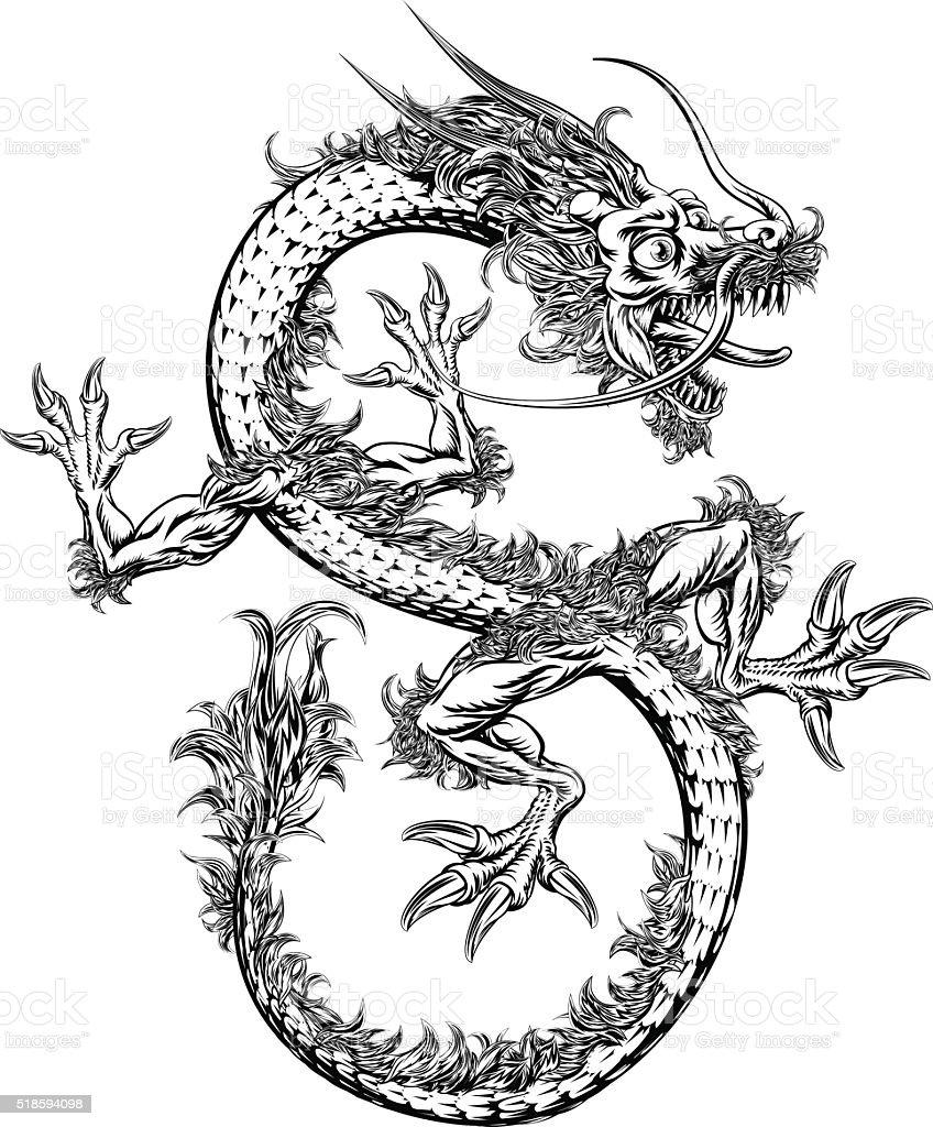 Dragón chino japonés Oriental o - ilustración de arte vectorial