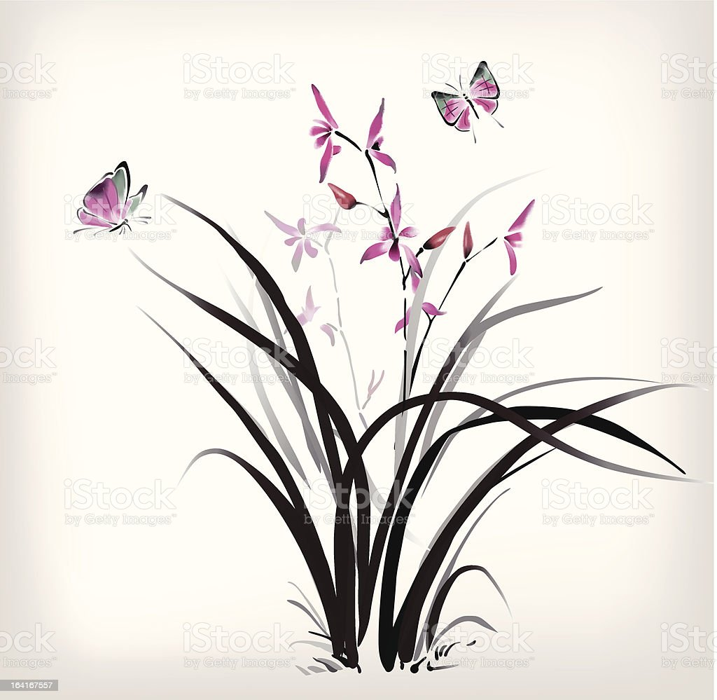 Chinese Orchid and butterfly ink style royalty-free stock vector art