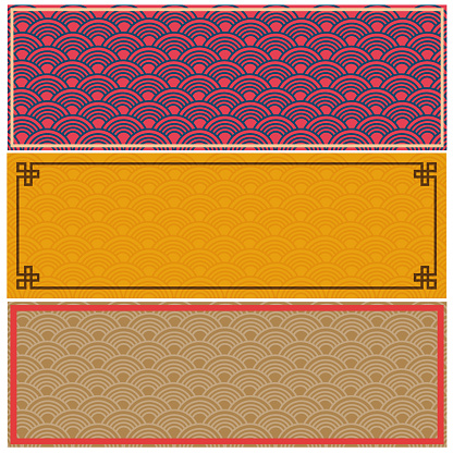 Chinese Oriental traditional seamless pattern web banner background set