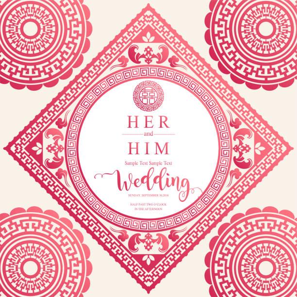 美しい中国のオリエンタル結婚式招待状カード テンプレートは、用紙の色を背景の模様。 - 台湾点のイラスト素材/クリップアート素材/マンガ素材/アイコン素材