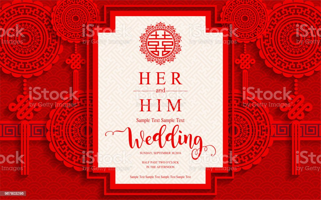 Chinese oriental wedding invitation card templates with beautiful chinese oriental wedding invitation card templates with beautiful patterned on paper color background chinese oriental stopboris Gallery