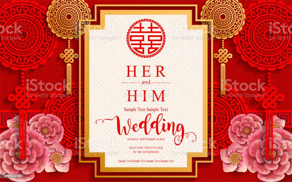 Chinese Oriental Wedding Invitation Card Templates With