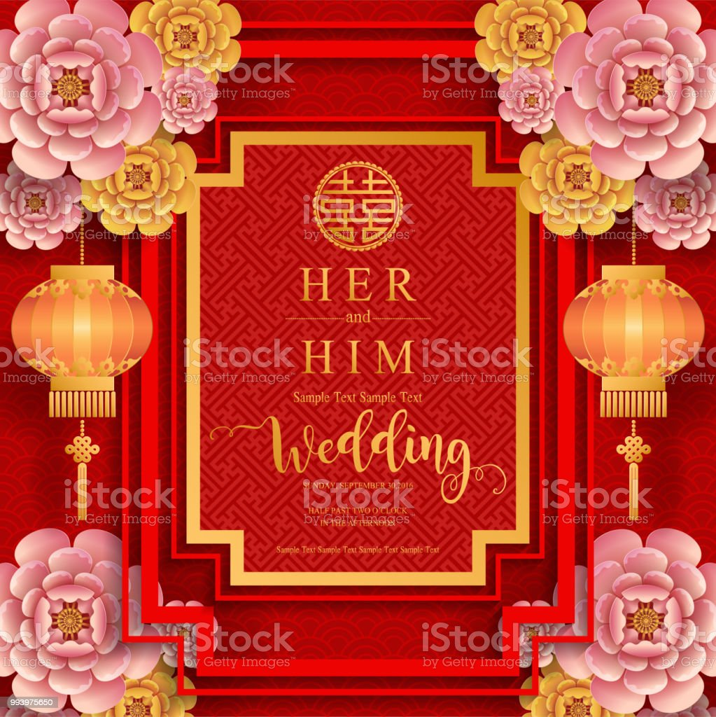 Chinese Oriental Wedding Invitation Card Templates With Beautiful ...