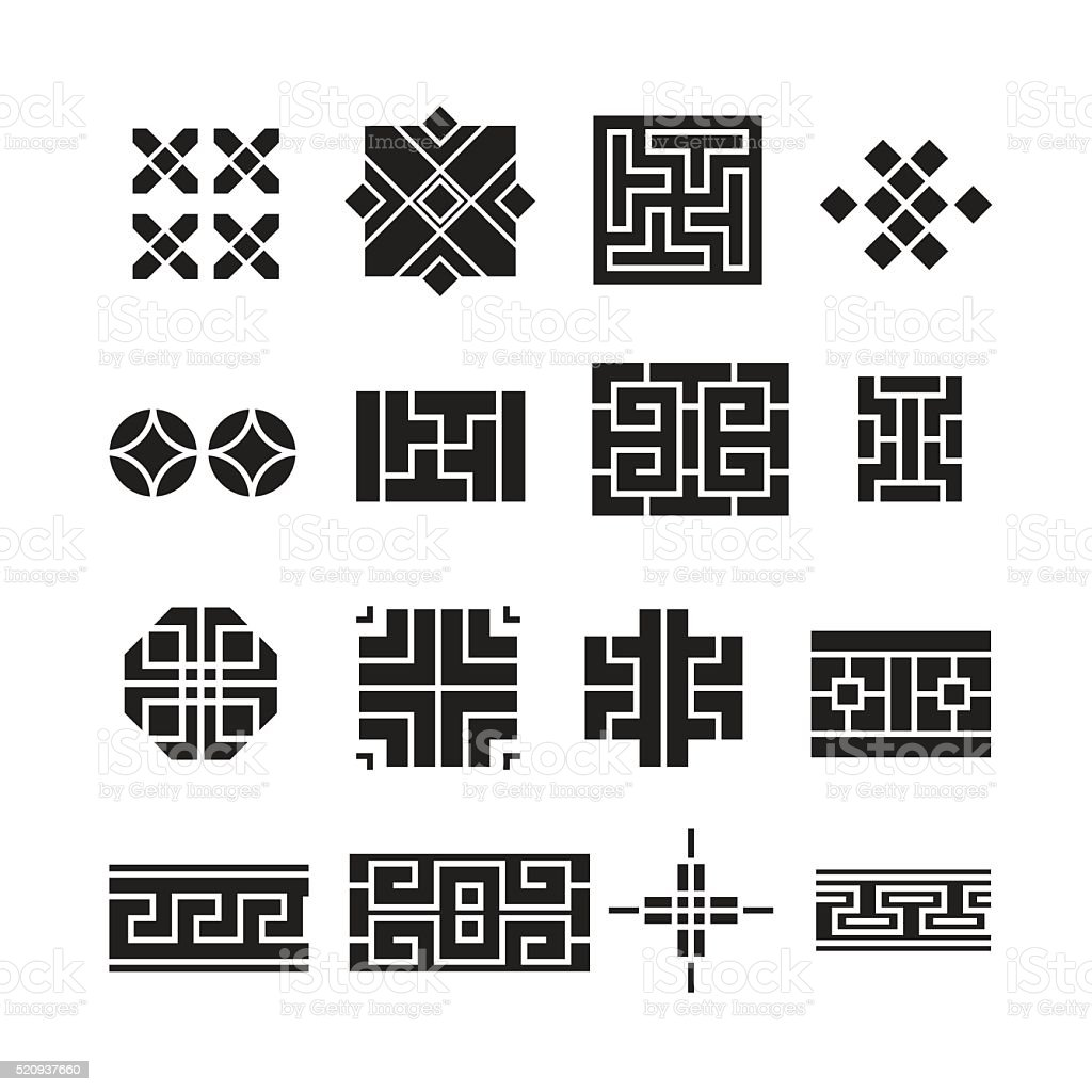 chinese ornament iconvector set stock illustration download image now istock https www istockphoto com vector chinese ornament icon vector set gm520937660 91159945