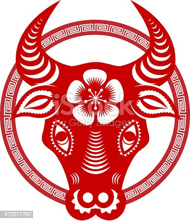 Chinese style of paper cut for year of the ox