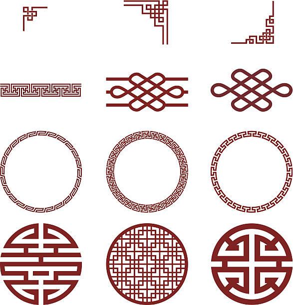 chinesischen papier und traditionelle muster - asien stock-grafiken, -clipart, -cartoons und -symbole