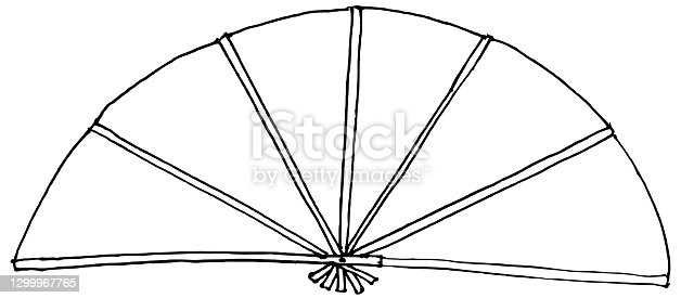 istock Chinese paper fan vector 1299967765